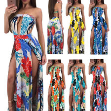 Women's Sexy Strapless Cut Out Backless High Slit Floral Print Maxi Dress