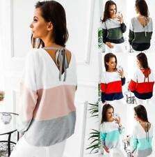 Women Contrast Color Crew Neck Long Sleeve Back Bowtie Strap Loose Tops Blouses