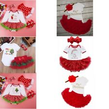 My First Christmas Infant Baby Girl Santa Romper Tutu Dress Outfit Set Headband