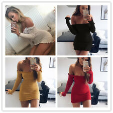 Women Solid Stretchy Off Shoulder Strapless Long Sleeves Package Hip Mini Dress