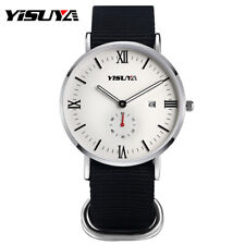 YISUYA Army Nylon Band Date Men Sport Military Quartz Wrist Watch Bracelet Gift
