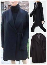 Rare M_NWT $199 ZARA BLACK COAT WITH WRAPAROUND COLLAR 75% WOOL lapel 8025/744