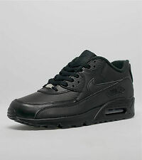 New Nike Air Max 90 Triple Black Leather Trainers Sneakers Premium Size 8 UK
