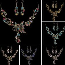 Retro Butterfly Crystal Necklace Earrings Set Lady Costume Wedding Party Jewelry