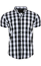 glo-story Check Shirt Men Short Sleeve Shirt Check Shirt Black mcs-3777 model-2