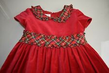 NEW Laura Ashley London Girls Green Plaid RED VELVET Dress Christmas Holiday 6 X