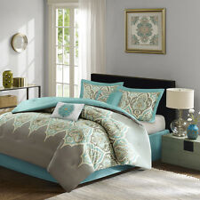 Deluxe Cotton Teal Grey Green Paisley comforter 6 pcs King Queen set bedding New
