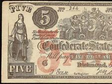 1861 $5 DOLLAR CONFEDERATE STATES CONTEMPORARY COUNTERFEIT CIVIL WAR NOTE CT-31