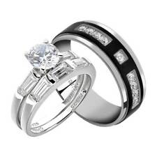 His and Hers Wedding Rings 3 pcs Engagement CZ Sterling Silver Titanium Set IK