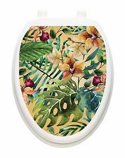 Toilet Tattoo Tropical Forest  Bathroom Lid Vinyl Removable Decoration 1137