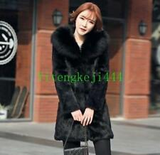 Womens Real rabbit fur Parka coat fox fur collar jacket Outwear Winter Luxury SZ
