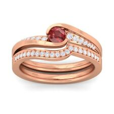 Red Garnet FG SI Diamonds Perfect Wedding Dual Rings Women Rose Gold
