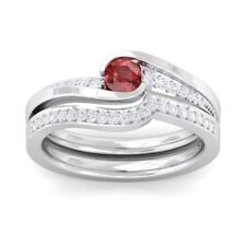 Red Garnet FG SI Diamonds Perfect Wedding Dual Rings Women White Gold