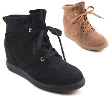 LADIES FAUX SUEDE HIDDEN WEDGE LACE UP TRAINERS HIGH TOP SNEAKERS SHOES SIZE