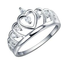 925 Silver Ring  White Topaz Crown Heart Wedding Engagement  Women Size 6-10