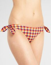 French Connection Sunny Check Tie Side Bikini Brief Red Blue Size L UK 14 NEW