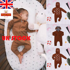 UK Baby Boys Girls Zipper Deer Ear Crawl Suit Cute Romper Long Sleeve Playsuit