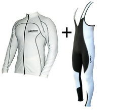 ZIMCO Cycling Super Roubaix Thermal Jersey & Bib Tight Combo Padded White/Black