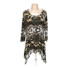 Scoop Round Neck Snake Abstract Print Knit Top 3/4 Sleeves Sharkbite Hem Tunic