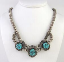 Old Pawn Navajo Handmade Sterling Silver & Turquoise Necklace │RS AM