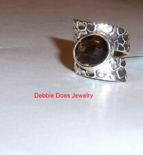 Brown Smoky Quartz Oval Solitaire Cigar Band Ring, Silver, Sizes 6 & 7, 3.00(TCW