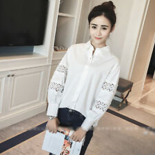 Women's Lapel Hollow Crochet Long Sleeve Slim Fit Button Down Shirt Top Blouse