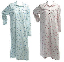 Ladies Floral Rose 100% Knitted Cotton Nightdress Womens Long Sleeved Nighty