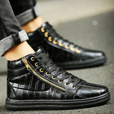 Men's Casual Sneakers Party Shoes Britpop Leather Zipper Lace Up Ankle Boots FAR