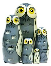 Great Grey Owls 5 Pc Russian Nesting Doll Handmade nested toy NO RESERVE Bid now