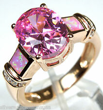 Rose Gold Plated Pink Topaz, Pink Fire Opal Inlay 925 Sterling Silver Ring 6-9