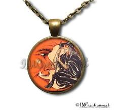 Handmade Glass Pendant Necklace Vintage Halloween Wearable Art Witch Moon