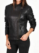 Women's Leather Motorcycle Jacket Genuine lambskin women black biker coat # 127