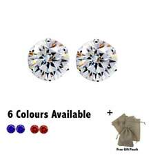 8mm Silver Tone Crystal Zircon Round Stud Earrings - 6 Colours