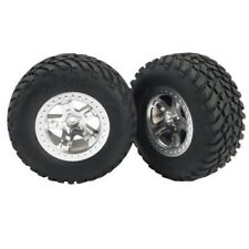 Traxxas TRA5875 Off-Road 2.2 Tires Satin-Finish Chrome Wheels Fr: 1/10 2wd Slash