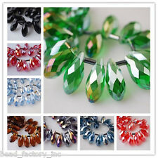 10Pcs Teardrop Glass Crystal Loose Spacer Bead Pendant 8x16mm Jewelry Findings