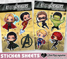 The Avengers Stickers Sheet - Thor Iron Man Loki Hawkeye Captain America +
