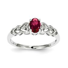 925 Sterling Silver Oval Created Ruby July Stone & Diamond Heart Ring 5 - 10