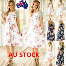 Women Summer Beach Short Sleeve Floral Dress Cocktail Evening Party Casual Dress