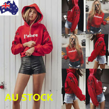 Women's Hooded Long Sleeve Crop Top Pullover Hoodies Sweatshirt Hip Pop Jumper