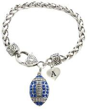 Custom Blue Crystal Football Bracelet Jewelry Choose Initial Charm All 26 Gift
