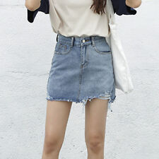 Women's Handcraft Fray Tassel Fringe Hem Easy Match Denim Jeans Mini Skirt