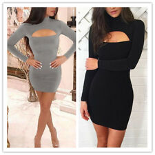 Women Solid Turtle Neck Long Sleeve Front Hollow Out Sexy Bodycon Mini Dress