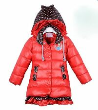Kids Girls Quilted Padded Puffa Parka Warm Winter Hooded Jacket Coat,3 4 5 6 yrs