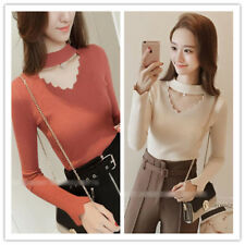 Women's Choker Cut Out V Neck Long Sleeve Stretchy Knit Top Bottoming Shirt