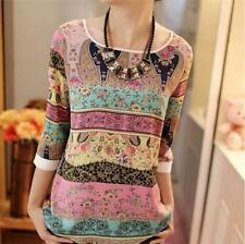 Women's Floral Print Ethinic Style Crew Neck 3/4 Sleeves Shirts Tops Blouses