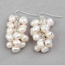 Cluster Dangle Earrings Perfect 100% Real Fresh Water Pearl 925 Sterling Silver
