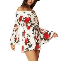 Women Floral Print Flare Long Sleeves Strapless Off Shoulder Tie Waist Jumpsuits