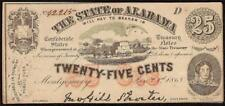 1863 ALABAMA CURRENCY 25 CENT NOTE OBSOLETE FRACTIONAL CONFEDERATE STATES AU