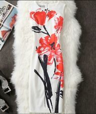 Ladies White & Red  Floral Flower Print Dress Size 10,12,14