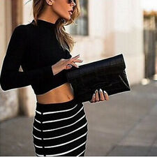 Women Twinset Solid Long Sleeve Crew Neck Tops+Stripe Print Package Hip Skirt